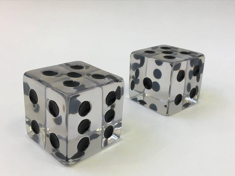 Late 20th Century Pair of Large Acrylic Dice by Charles Hollis Jones For Sale