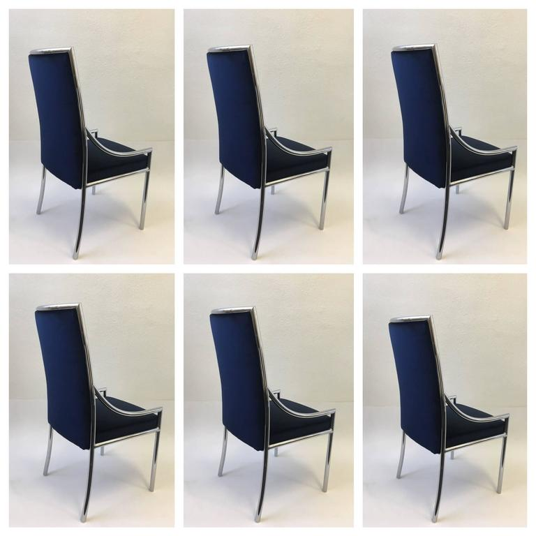 Chrome Dining Room Chairs: Set Of Six Chrome And Royal Blue Velvet Dining Chair