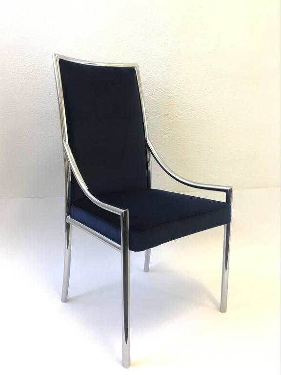 Set of Six Chrome and Royal Blue Velvet Dining Chair ...