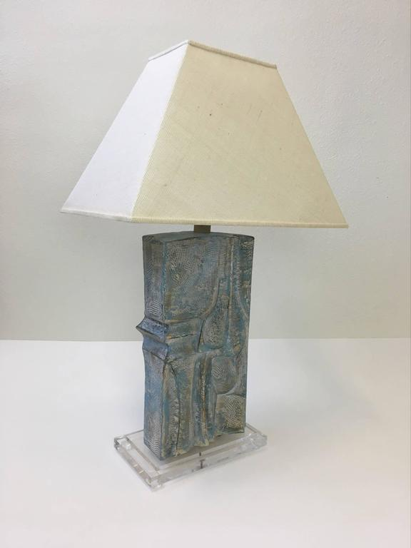 A sculptural Brutalist table lamp designed by Casual Lamps in 1987.