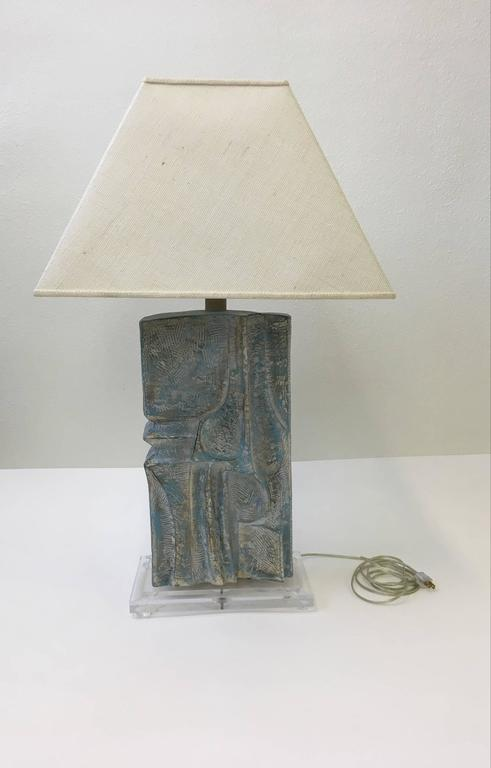 Cast Brutalist Acrylic and Plaster Table Lamp by Casual Lamps For Sale