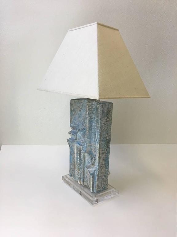 Brutalist Acrylic and Plaster Table Lamp by Casual Lamps In Excellent Condition For Sale In Palm Springs, CA