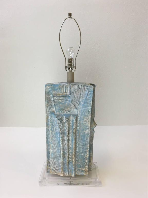 Late 20th Century Brutalist Acrylic and Plaster Table Lamp by Casual Lamps For Sale