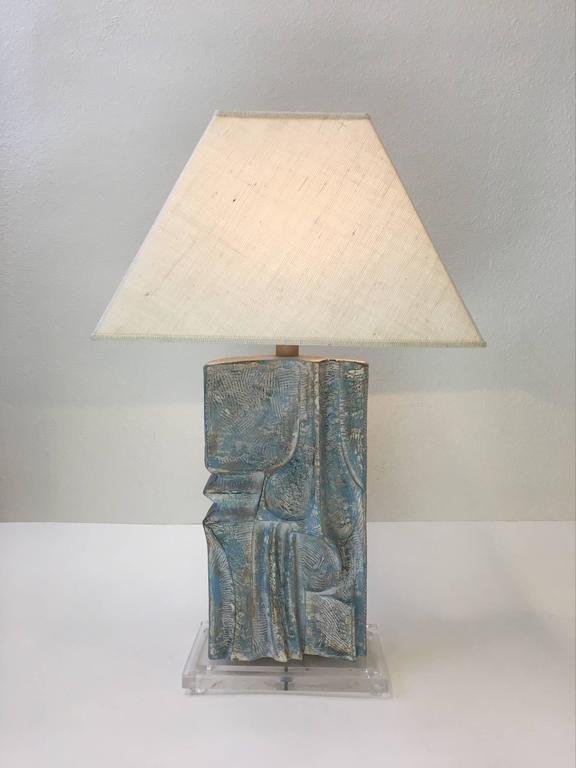 Brutalist Acrylic and Plaster Table Lamp by Casual Lamps For Sale 3