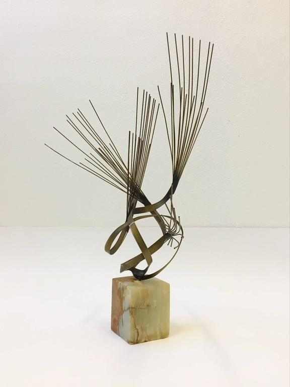 Mid-Century Modern Gilded Steel and Onyx Tabletop Sculpture by Curtis Jeré For Sale