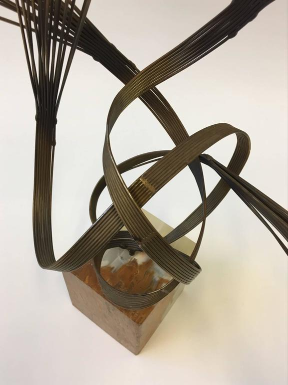 Late 20th Century Gilded Steel and Onyx Tabletop Sculpture by Curtis Jeré For Sale