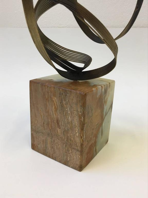 Gilded Steel and Onyx Tabletop Sculpture by Curtis Jeré For Sale 2