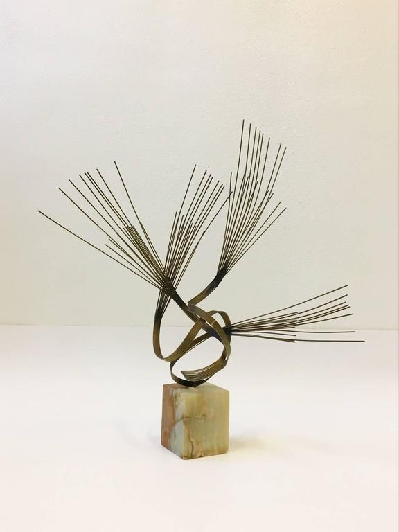 Gilded Steel and Onyx Tabletop Sculpture by Curtis Jeré For Sale 3