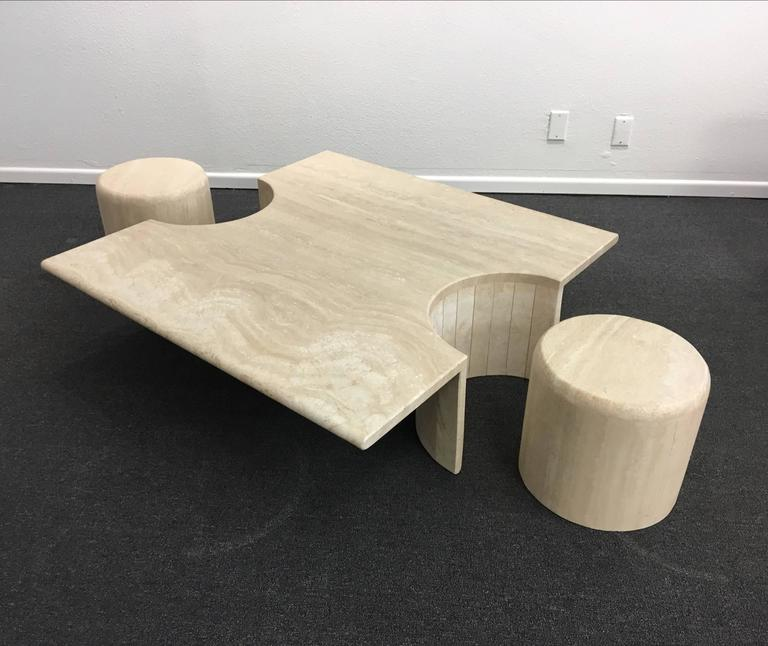 Modern Sculptural Italian Travertine Cocktail Table For Sale