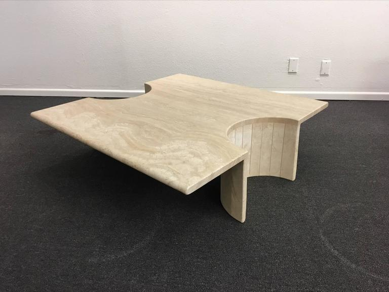 Sculptural Italian Travertine Cocktail Table In Excellent Condition For Sale In Palm Springs, CA