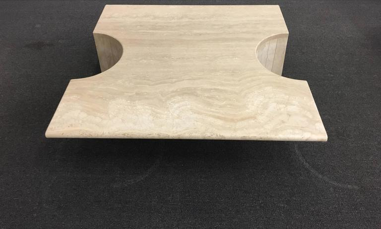 Late 20th Century Sculptural Italian Travertine Cocktail Table For Sale