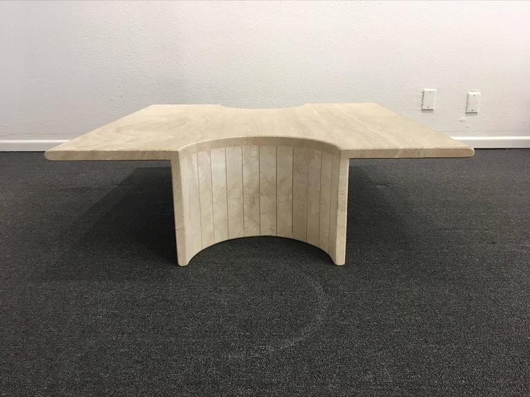 Sculptural Italian Travertine Cocktail Table For Sale 1