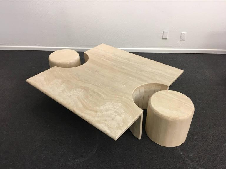 Sculptural Italian Travertine Cocktail Table For Sale 4