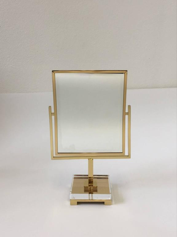 Polished Brass and Acrylic Vanity Mirror by Charles Hollis Jones 2