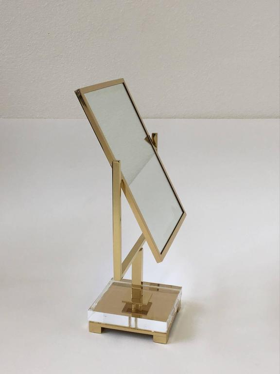 Polished Brass and Acrylic Vanity Mirror by Charles Hollis Jones 3