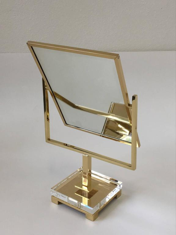 Polished Brass and Acrylic Vanity Mirror by Charles Hollis Jones 4