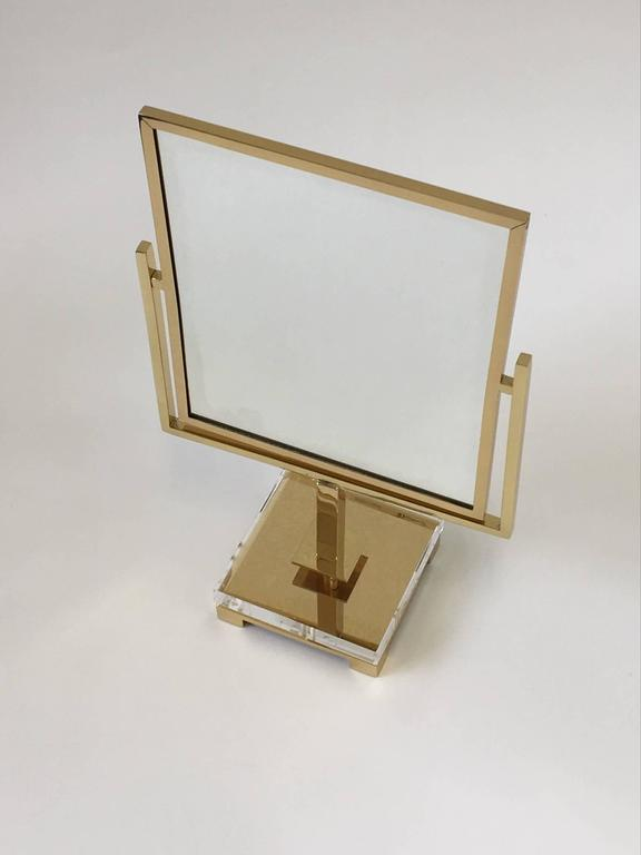 Polished Brass and Acrylic Vanity Mirror by Charles Hollis Jones 6