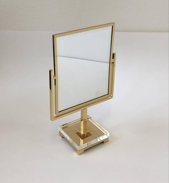 Polished Brass and Acrylic Vanity Mirror by Charles Hollis Jones 7