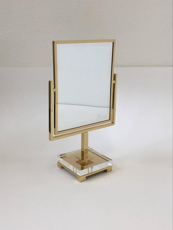 Polished Brass and Acrylic Vanity Mirror by Charles Hollis Jones 8