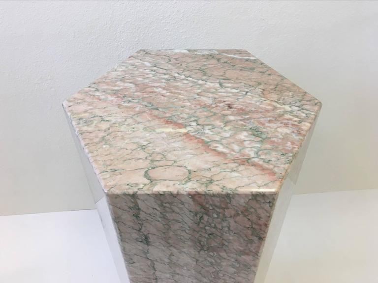 Unknown Hexagonal Shape Polished Blush Pink Marble Pedestal For Sale