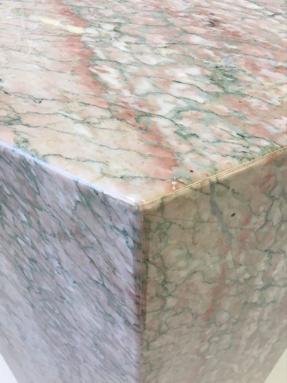 Hexagonal Shape Polished Blush Pink Marble Pedestal In Excellent Condition For Sale In Palm Springs, CA