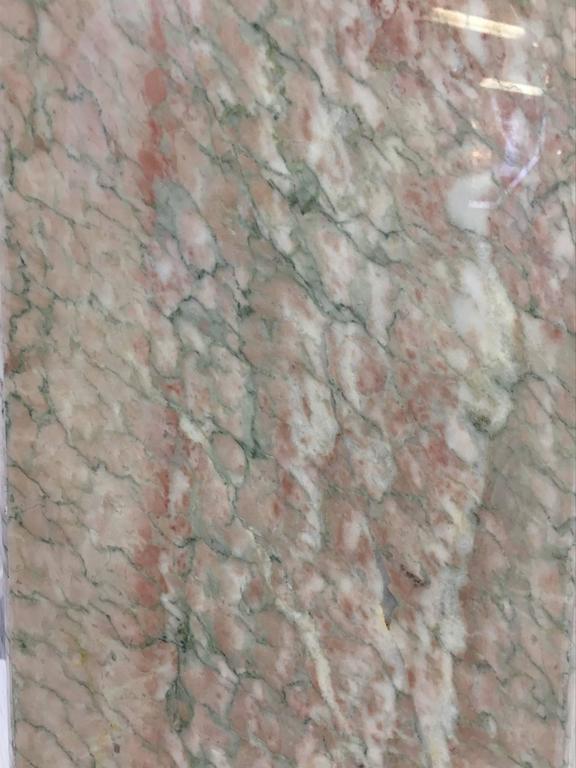 Hexagonal Shape Polished Blush Pink Marble Pedestal For Sale 1