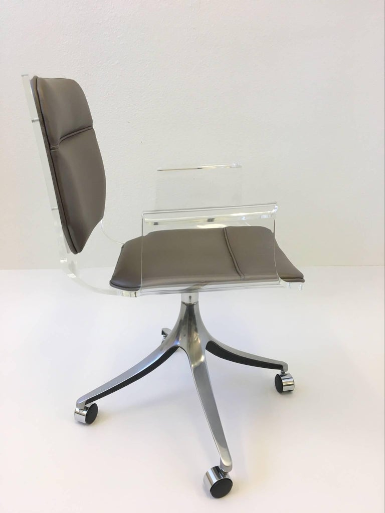 Super Acrylic And Leather Swivel Desk Chair On Casters By Hill Manufacturing Co Alphanode Cool Chair Designs And Ideas Alphanodeonline