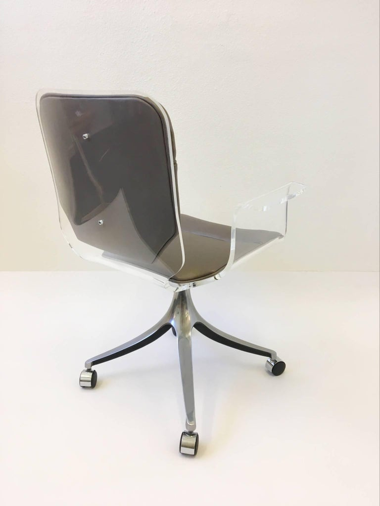Acrylic And Leather Swivel Desk Chair On Casters By Hill