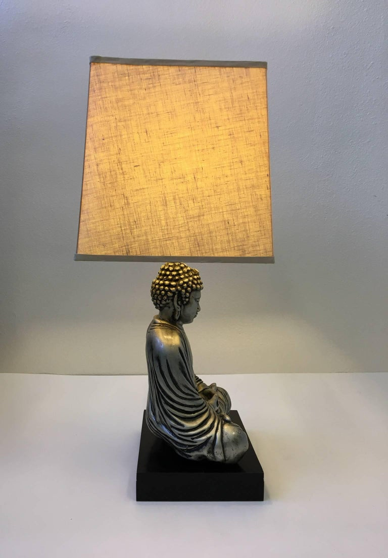 Silver and black lacquered buddha table lamp in the style of james mid century modern silver and black lacquered buddha table lamp in the style of james aloadofball Images