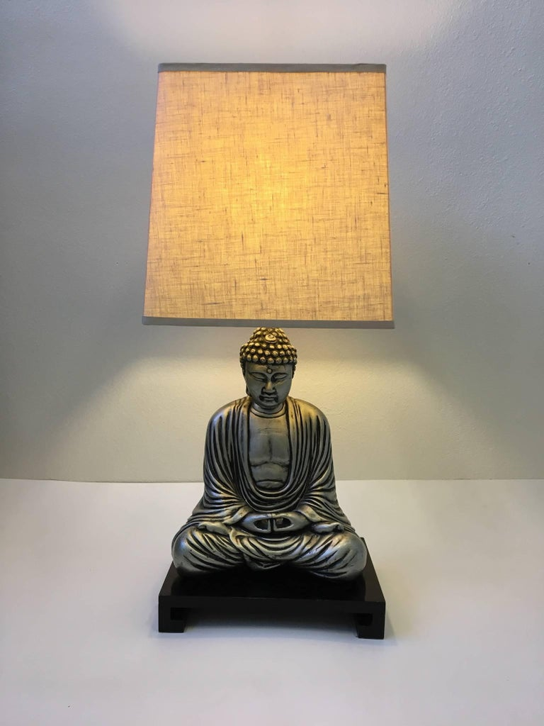Silver And Black Lacquered Buddha Table Lamp In The Style