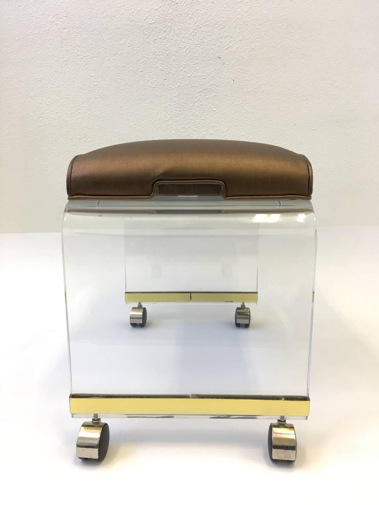 Acrylic Waterfall Vanity Stool On Casters By Hill