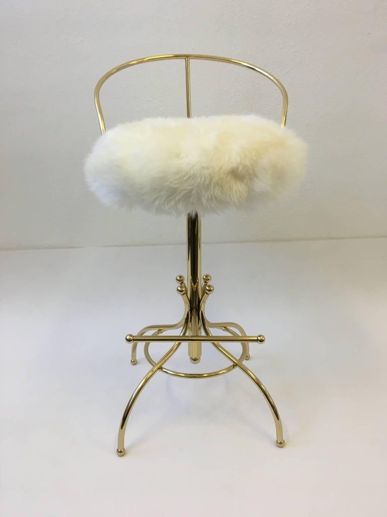 Brass And Sheepskin Sammy Davis Swivel Bar Stool By