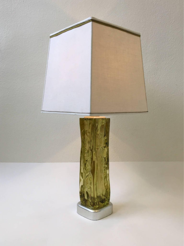 Italian Murano Glass Table Lamp by Seguso for Marbro For Sale 4