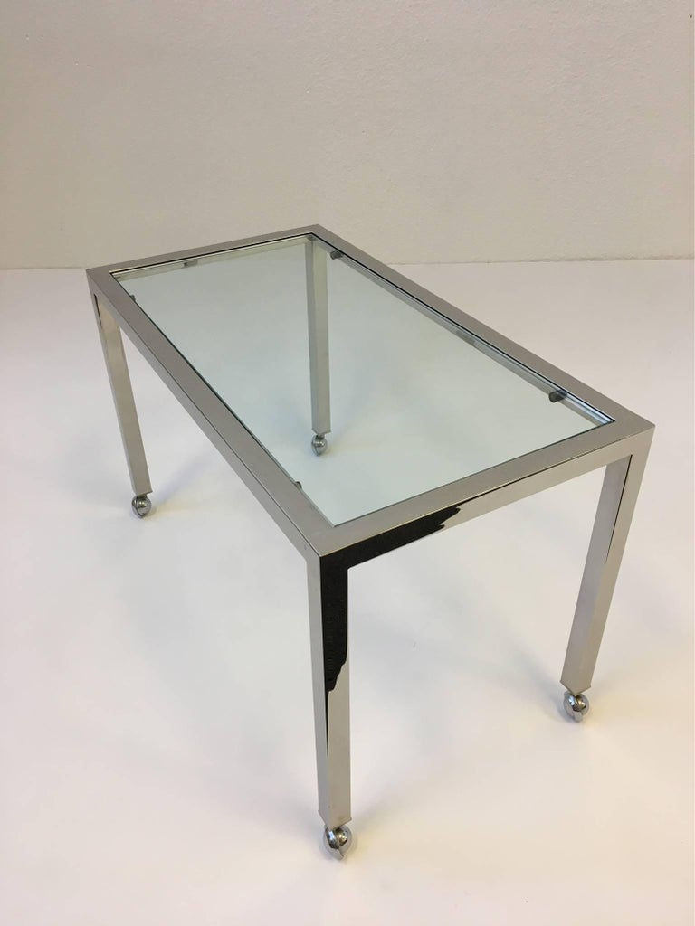 Chrome And Glass On Casters Side Table Style Of Milo Baughman For Sale At 1stdibs