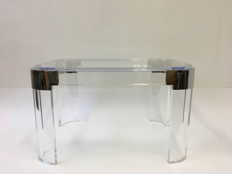 American Pair of Acrylic and Nickel Side Tables by Charles Hollis Jones For Sale