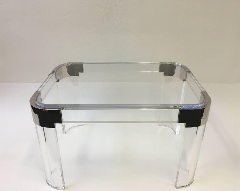 Modern Pair of Acrylic and Nickel Side Tables by Charles Hollis Jones For Sale