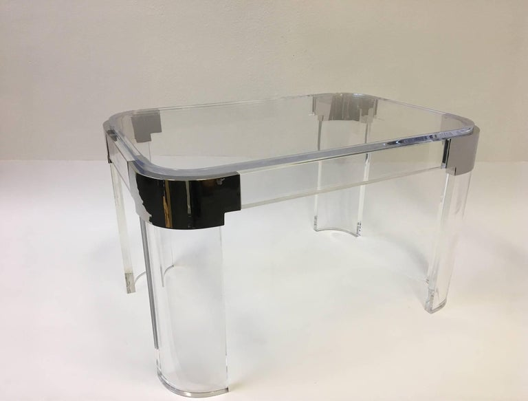 Polished Pair of Acrylic and Nickel Side Tables by Charles Hollis Jones For Sale