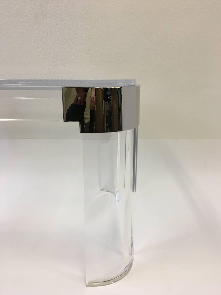 Pair of Acrylic and Nickel Side Tables by Charles Hollis Jones For Sale 2