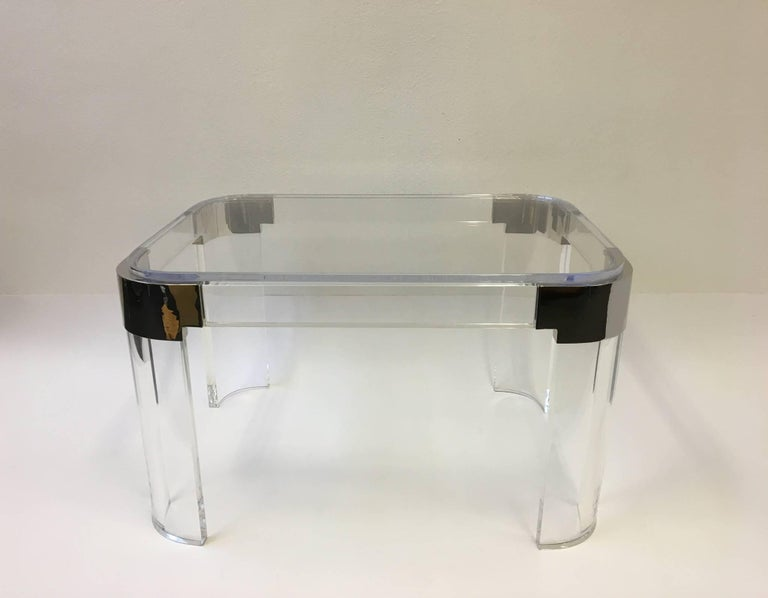 Pair of Acrylic and Nickel Side Tables by Charles Hollis Jones For Sale 1