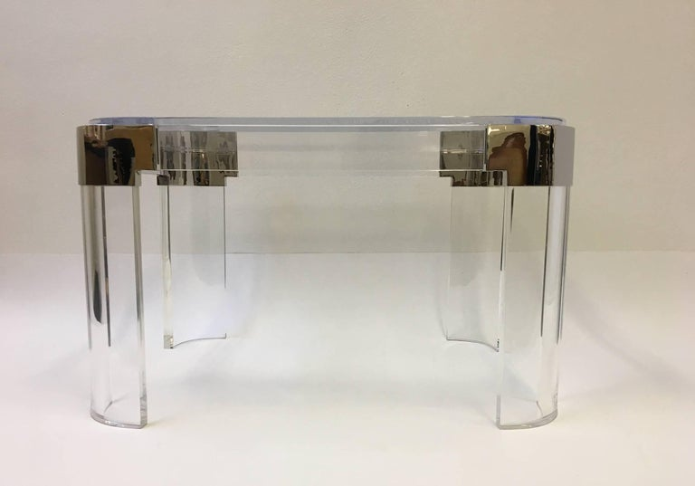 Pair of Acrylic and Nickel Side Tables by Charles Hollis Jones For Sale 3