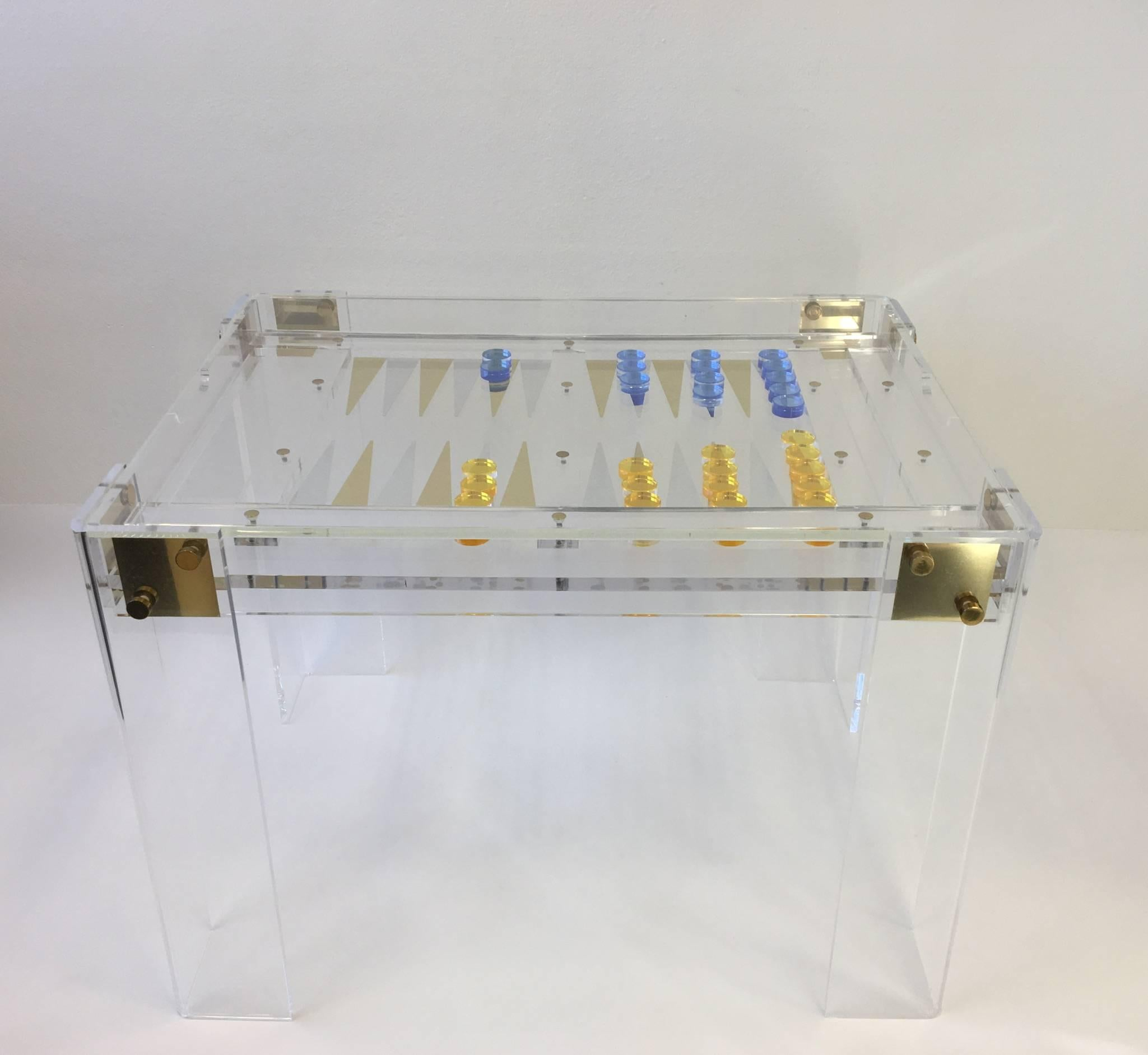 A Glamorous Clear Acrylic With Brass Hardware Designed By Renowned Designer  Charles Hollis Jones In The