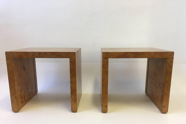 Pair Of Burl Wood Side Tables Or Nightstands By Milo Baughman At 1stdibs