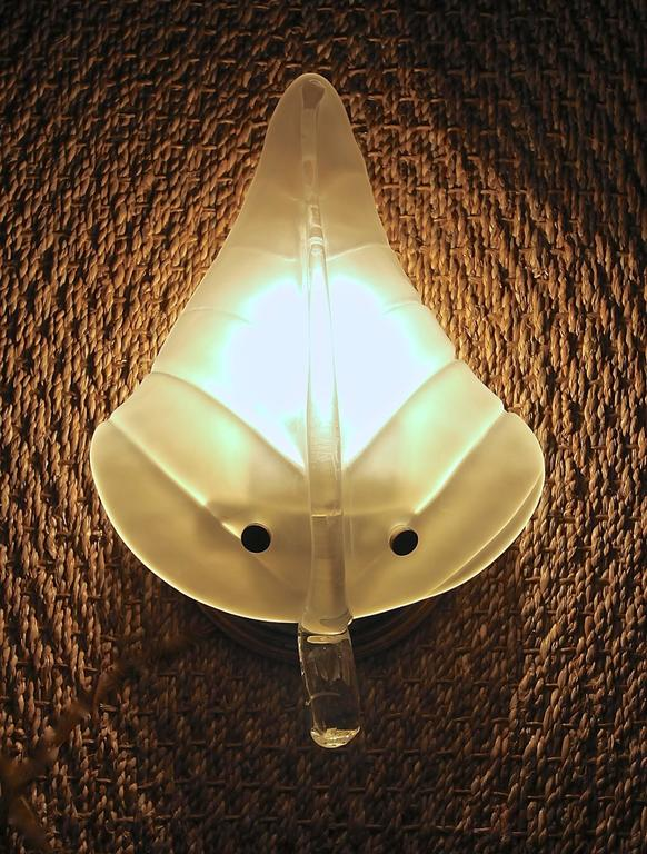Four Murano Glass Leaf Wall Sconces For Sale 13