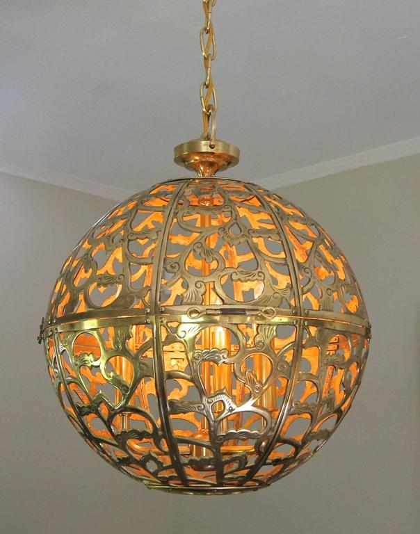 Large pierced filigree brass japanese asian ceiling pendant light at large pierced filigree brass japanese asian ceiling pendant light in excellent condition for sale in palm aloadofball Image collections
