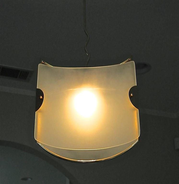 Pair of Italian Glass Brass Pendants Ceiling Lights In Good Condition For Sale In Palm Springs, CA