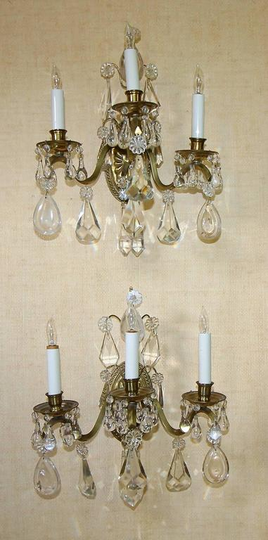 Rock Crystal Wall Sconces : Pair of French Rock Crystal Brass Wall Sconces For Sale at 1stdibs