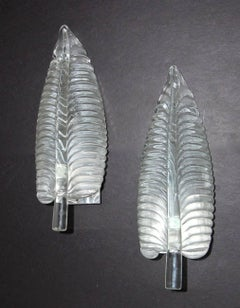 Murano Italian Glass Leaf Shaped Wall Sconces