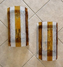 Pair of Large Murano Mazzega Amber and Clear Glass Wall Sconces
