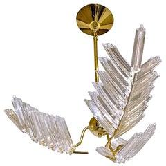 Murano Italian Triedi Crystal Palm Leaf Chandelier