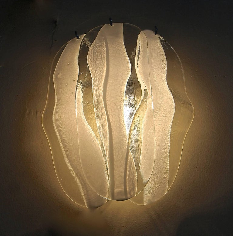Metal Pair of Mazzega Murano White and Clear Glass Wall Sconces For Sale